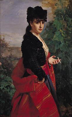 Portrait Of A Spanish Woman Print by Heinrich Wilhelm Schlesinger