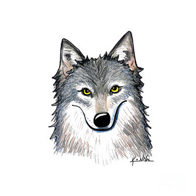 Portrait Of A Wolf Original by Kim Niles