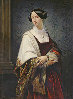 Portrait Of A Woman, 1853 Oil On Canvas Print by Benedict Masson