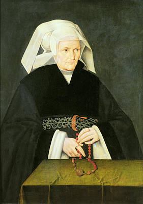 Femme Photograph - Portrait Of A Woman, C.1550 Oil On Panel by Bartholomaeus Bruyn