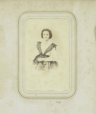 Portrait Of A Woman In A Full Skirt With A White Blouse Print by Artokoloro