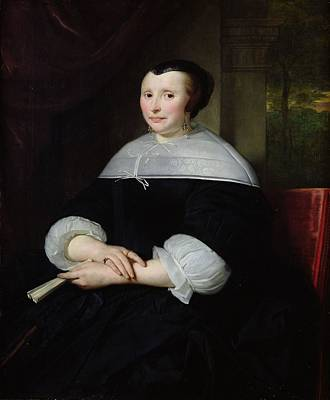 Three Quarter Sleeves Print featuring the photograph Portrait Of A Woman Oil On Canvas by Abraham Lamberts Jacobsz van den Tempel