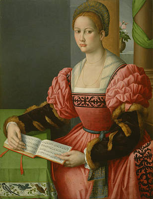Music Book Painting - Portrait Of A Woman With A Book Of Music by Bacchiacca