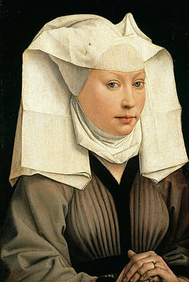 Portrait Of A Woman With A Winged Bonnet Print by Rogier van der Weyden