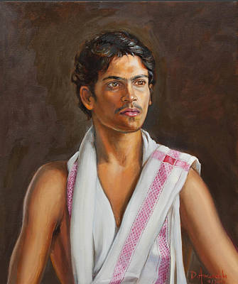 Painting - Portrait Of A Young Indian Man by Dominique Amendola