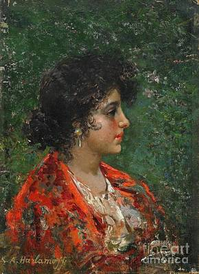Slavic Painting - Portrait Of A Young Lady by Celestial Images