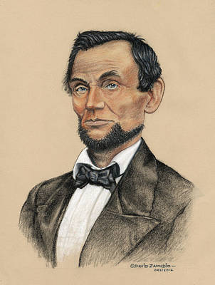 Blue And Grey Drawing - Portrait Of Abraham Lincoln 1860 by David Zamudio