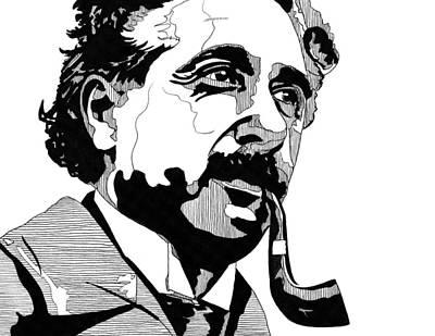 Einstein Drawing - Portrait Of Albert Einstein by Matthew Howard