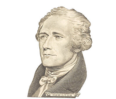 Portrait Of Alexander Hamilton On White Background Print by Keith Webber Jr