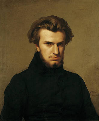 Portrait Of Ambroise Thomas 1811-96 1834 Oil On Canvas Print by Hippolyte Flandrin