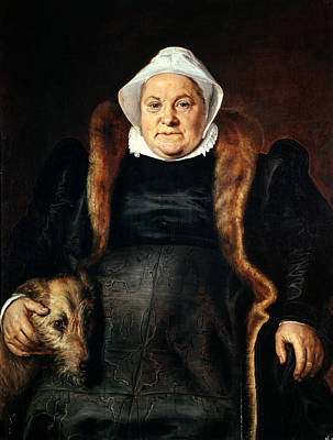 Portrait Of An Elderly Woman Or, The Falconers Wife, 1558 Oil On Canvas Print by Frans Floris