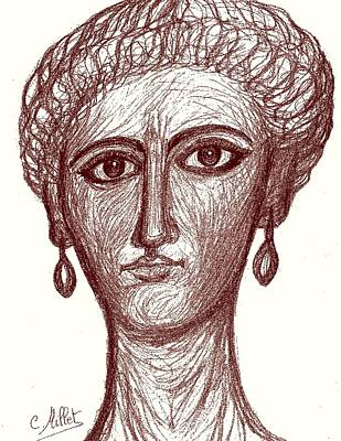 Romaine Mixed Media - Portrait Of Ancient Roman Woman Inspired From Portraits Of Fayum by Cindy MILLET