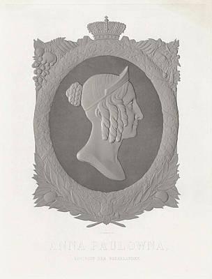 Portrait Of Anna Pavlovna, Queen Of The Netherlands Print by Jan Dam Steuerwald