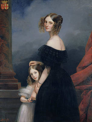 Portrait Of Anne-louise Alix De Montmorency, With Her Daughter, C.1840 Oil On Canvas Print by Claude-Marie Dubufe