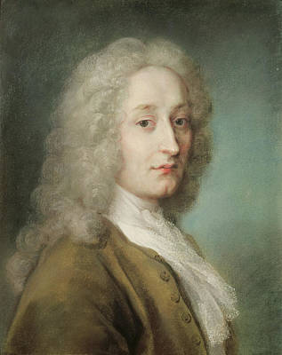 Painter Photograph - Portrait Of Antoine Watteau 1684-1721 Pastel On Paper by Rosalba Giovanna Carriera