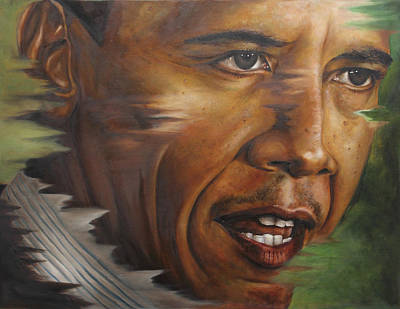 Barack Obama Painting - Portrait Of Barack Obama by Ah Shui