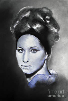 Portrait Of Barbra Streisand Ballpoint Pen And Charcoal Print by Maja Sokolowska