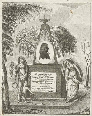 Hourglass Drawing - Portrait Of C.a. Vanden Broeck On A Tomb by Jacob Hugo Hoedt