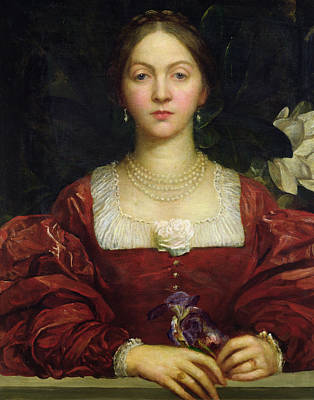 Necklace Painting - Portrait Of Countess Of Airlie by George Frederick Watts