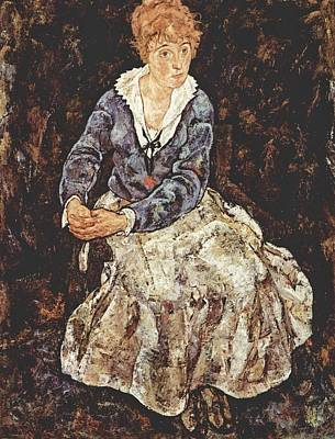 Self-portrait Painting - Portrait Of Edith Schiele by Celestial Images