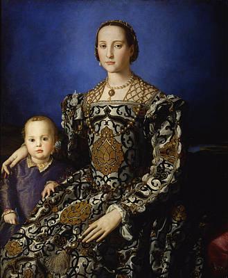Eleonora Painting - Portrait Of Eleonora Of Toledo With Her Son Giovanni by Bronzino