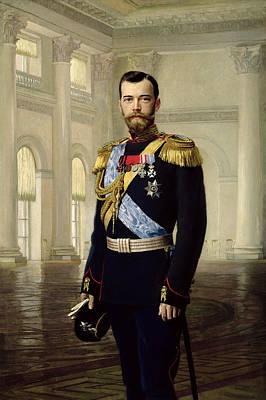 Portrait Of Emperor Nicholas II, 1900 Oil On Canvas Print by Baron Ernest Friedrich von Liphart