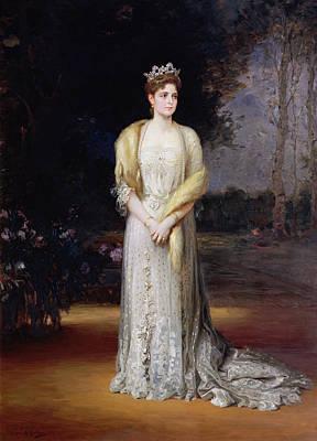 Regalia Photograph - Portrait Of Empress Alexandra Fyodorovna, 1914 Oil On Canvas by Jakov Jakovlevich Veber