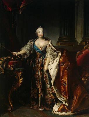 Portrait Of Empress Elizabeth, 1758 Oil On Canvas Print by Louis M. Tocque