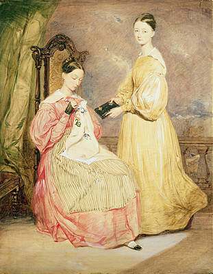 Embroidered Photograph - Portrait Of Florence Nightingale 1820-1910 And Her Sister, Frances Partenope D.1890 Lady Verney by William White