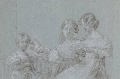 Loon Drawing - Portrait Of Four Sisters Van Loon, Charles Howard Hodges by Quint Lox