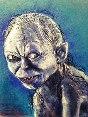 Portrait Of Gollum Print by Alban Dizdari