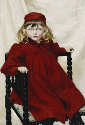 1890s Photograph - Portrait Of Harriet Fischer, Small Three-quarter Length, Wearing A Red Dress, 1896 Oil On Canvas by Paul Fischer