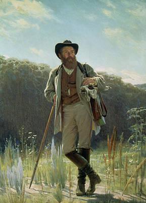 Old Hat Painting - Portrait Of Ivan Ivanovich Shishkin by Ivan Nikolaevich Kramskoy