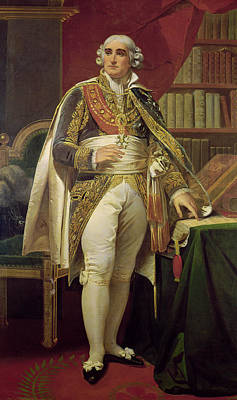 Portrait Of Jean-jacques-regis De Cambaceres 1753-1824 Oil On Canvas Print by Henri-Frederic Schopin