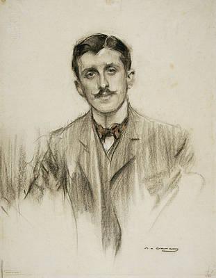 Alvarez Drawing - Portrait Of Joaquin Alvarez Quintero by Ramon Casas