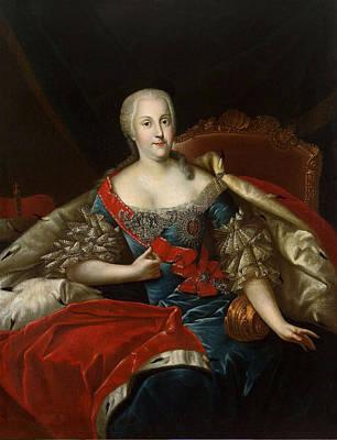 Portrait Of Johanna-elizabeth, Electress Of Anhalt-zerbst, C.1746 Oil On Canvas Print by Antoine Pesne