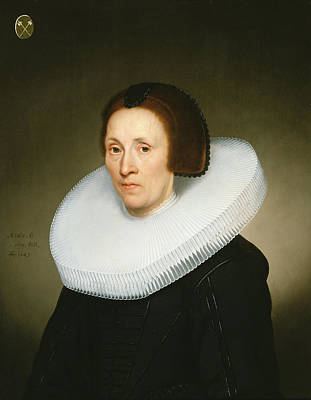 Cartwheel Photograph - Portrait Of Johanna Van Diemen, Aged 61, 1647 Oil On Panel by Jacob Gerritsz Cuyp