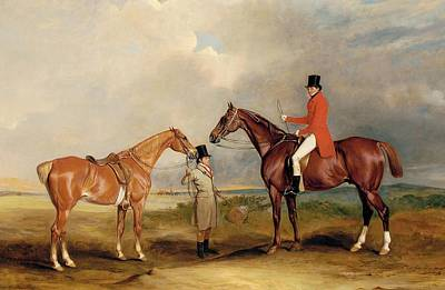 Hunters Painting - Portrait Of John Drummond On A Hunter With A Groom Holding His Second Horse by John E Ferneley