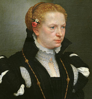 Flowers In Her Hair Painting - Portrait Of Lucia Vertova Agosti by Giovanni Battista Moroni