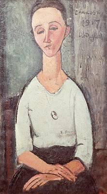 Elongated Photograph - Portrait Of Madame Chakowska, 1917 Oil On Canvas by Amedeo Modigliani