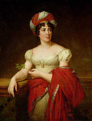 Portrait Of Madame De Stael Print by Marie Eleonore Godefroid