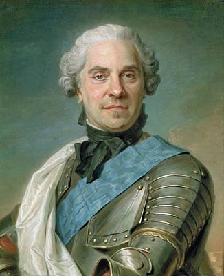 Earrings Photograph - Portrait Of Maurice 1696-1750 Comte De Saxe Pastel On Paper by Maurice Quentin de la Tour