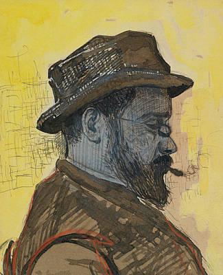 Middle Ground Painting - Portrait Of Maximilien Luce by Paul Signac