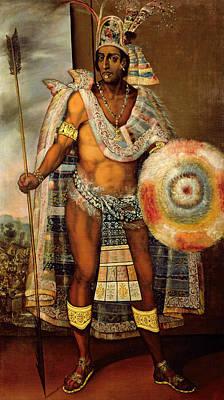 16th Century Painting - Portrait Of Montezuma II by European School