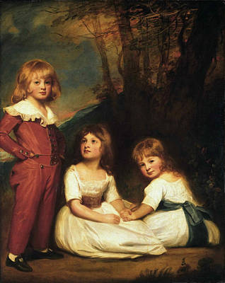 Romney Painting - Portrait Of Mr. Adyes Children. The Willett Children by George Romney