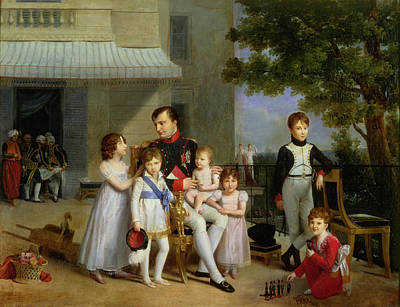 Portrait Of Napoleon Bonaparte 1769-1821 With His Nephews And Nieces On The Terrace At Saint-cloud Print by Louis Ducis