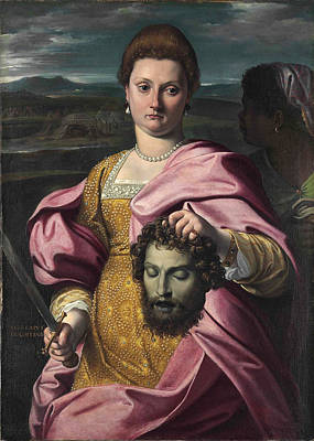 Agostino Carracci Painting - Portrait Of Olimpia Luna And Melchiorre Zoppio As Judith And Holofernes by Agostino Carracci