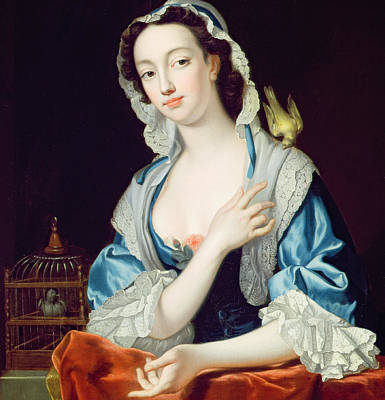 Canary Painting - Portrait Of Peg Woffington by Jean-Baptiste van Loo