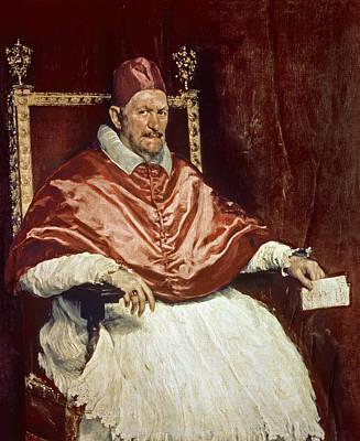 Portrait Of Pope Innocent X 1574-1655, 1650 Oil On Canvas Print by Diego Rodriguez de Silva y Velazquez