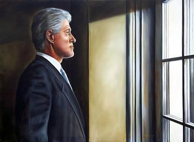 Portrait Of President William Jefferson Clinton In Profile Print by RB McGrath
